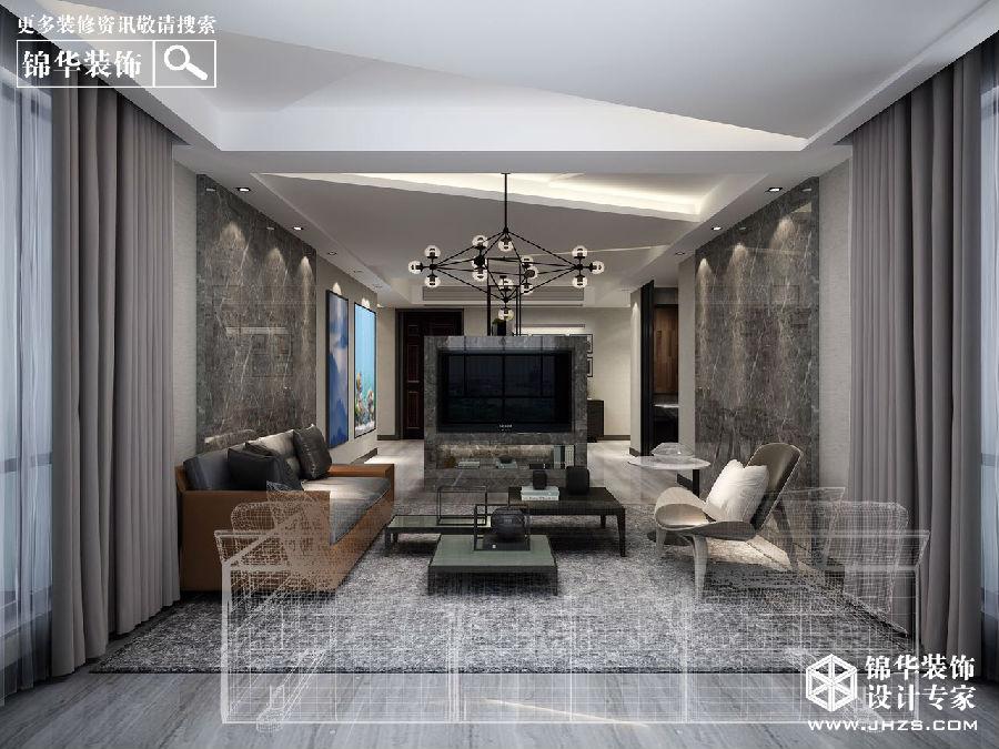 园135平现代工业风效果图装修 三室两厅 现代简约 溧阳锦华装饰