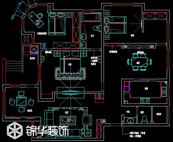 盛世华城160平方 装修设计方案 溧阳锦华装饰